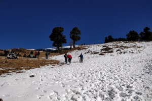 Snow covered trail of Nagtibba