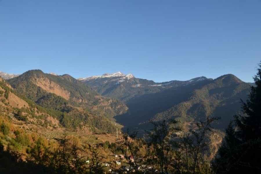 Sari Village. View of Chandrashila Peak.