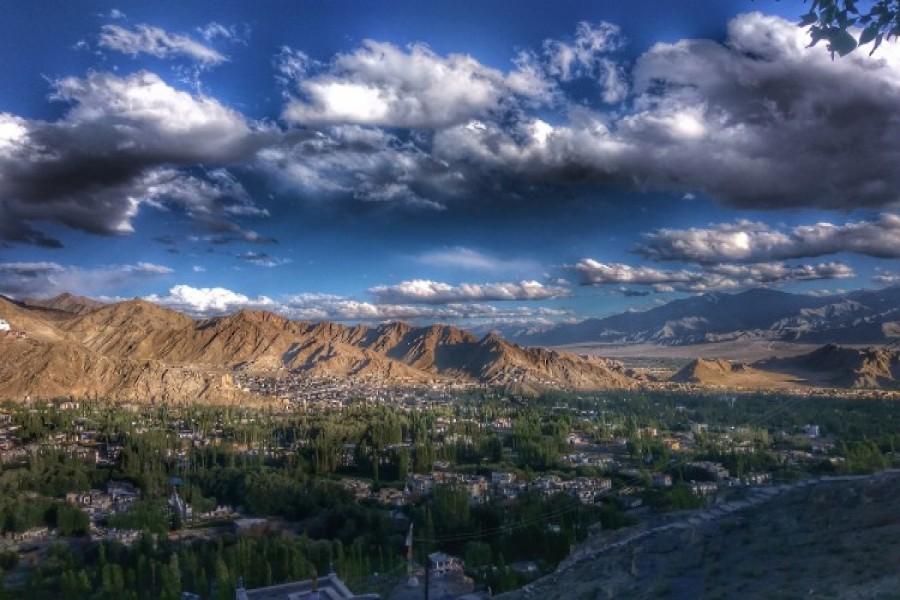 View of Leh City from Shanti Stupa