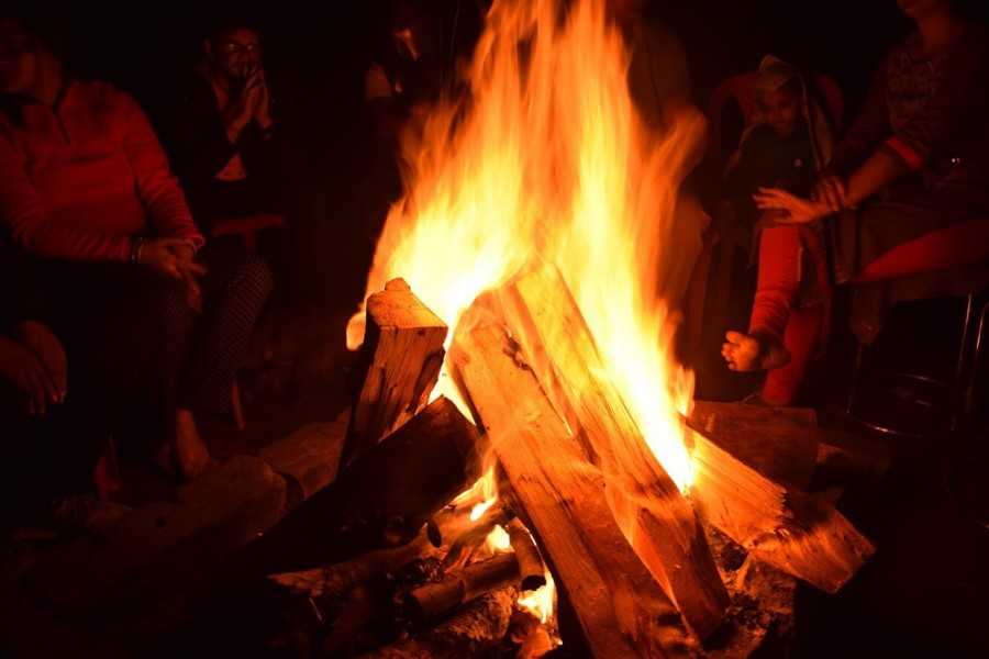 Bonfire at the Parashar Lake Campsite