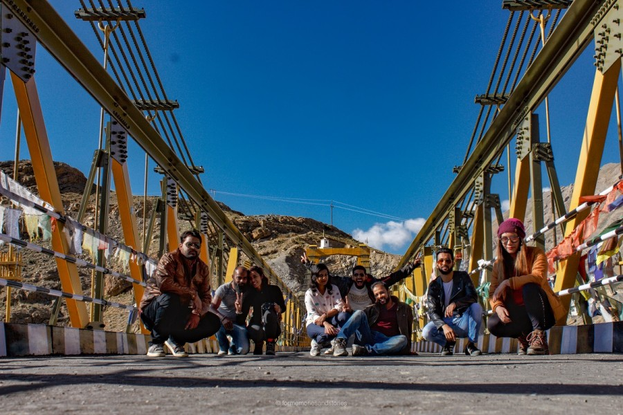 Group at one of the bridges in Spiti Valley